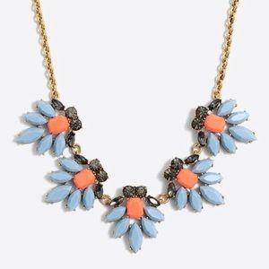 J Crew Blue and Orange Crystal Watchbird Necklace